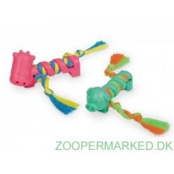 Massiv gummi legetøj med reb, 2 stk