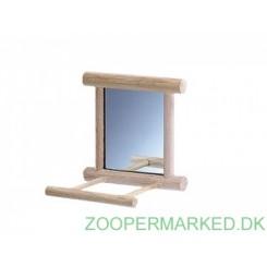 Spejl med landeplads i træ 10x10 cm