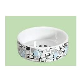 Keramikskål hvid m/mønster