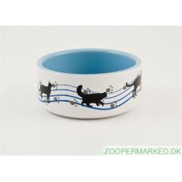 Keramikskål kat blå m/motiv 11,5 cm