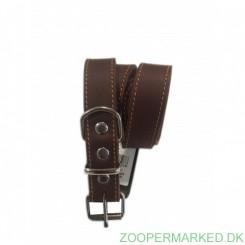 Soft Læderhalsbånd brun 30 cm