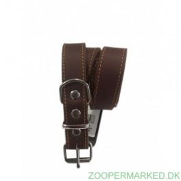 Soft Læderhalsbånd brun 35 cm