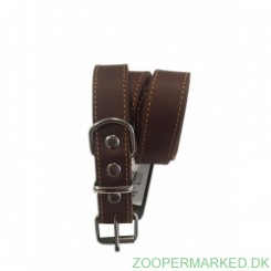 Soft Læderhalsbånd brun 60 cm